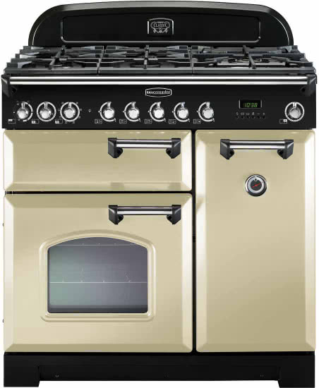 Rangemaster CDL90DFFCR/C_CR - Dual Fuel Range Cooker - Cream/Chrome