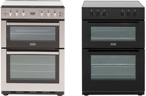 Two cooker ovens one silver and one black