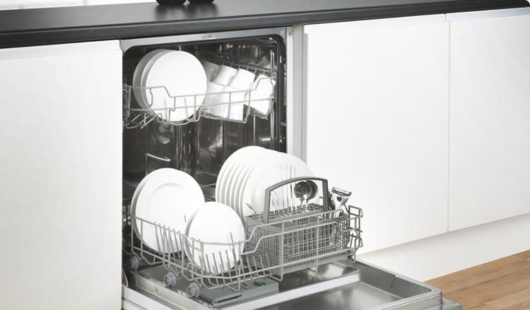 Stoves built-in Dishwasher showing crockery inside