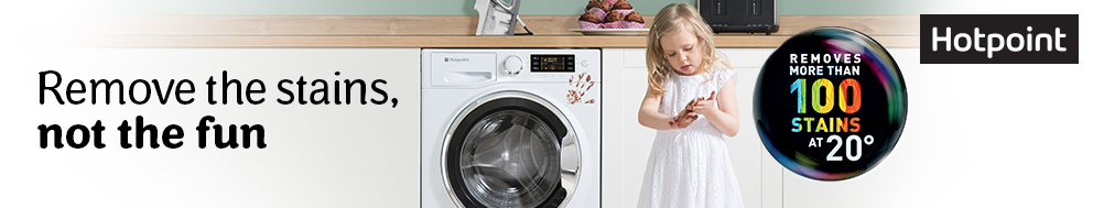 black, silver and white Hotpoint washing machines 
