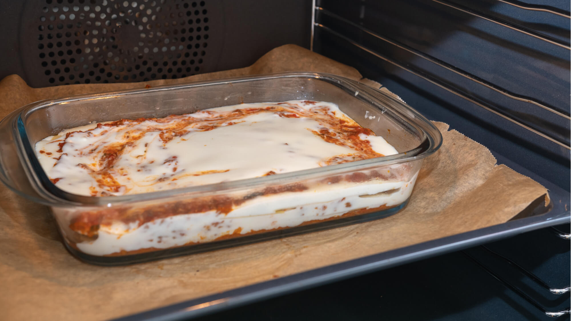 Lasagne in fan oven