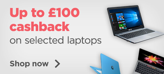 Up to £100 Cashback on selected laptops
