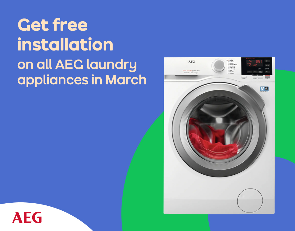 Free Install on AEG laundry throughout March | AO Business